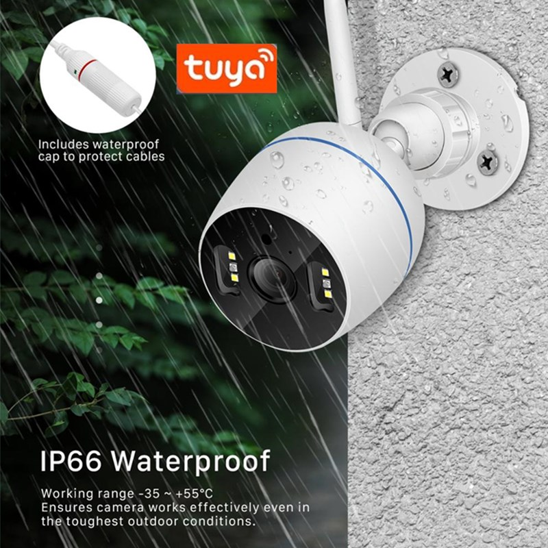 Tuya Camera 1080P Cloud WiFi Outdoor IP Google Camera 4X Digital Zoom Surveillance Camera Support Amazon Echo Show ChromeCast