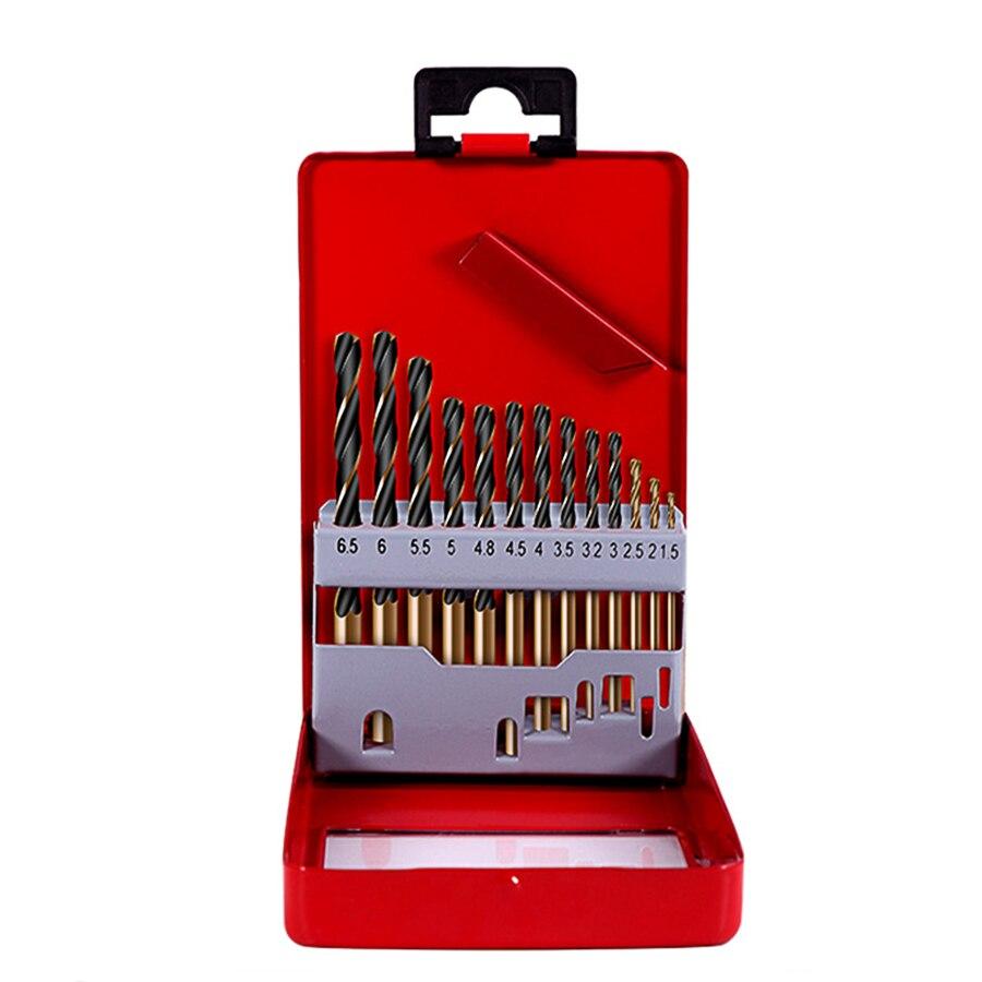 13 pces 1.5-6.5mm hss conjunto de broca de torção de cobalto para ferramentas elétricas de metal acessórios broca ferramenta