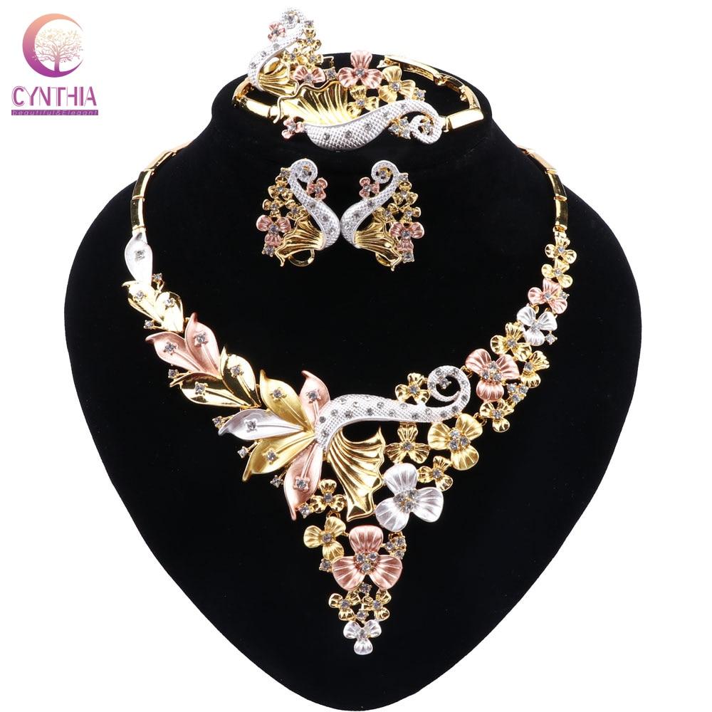 ¡Moda! Joyería arábiga, exquisita joyería de cristal con forma de flor, collar, pendientes, anillo, pulsera, joyería africana para mujer