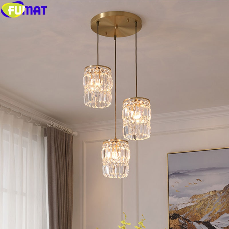 FUMAT Crystal k9 Pendant Lamp Modern Style Chandelier For Dinning Room Bedroom Bar Restaurant Copper Frame Brief America Light