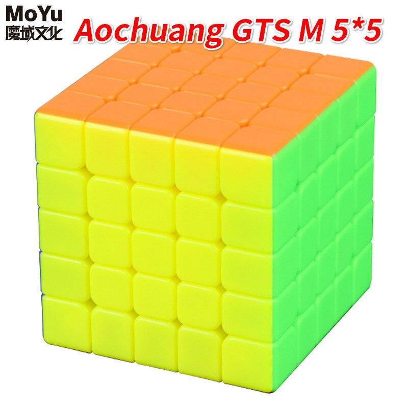 Moyu aochuang gts m 5x5 magnético stickerless 5x5x5 preto magic-cubo velocidade quebra-cabeça cubo brinquedos para crianças 5x5