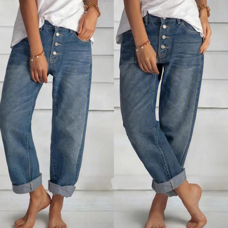 SHZQ جينز فضفاض المرأة عالية الخصر واسعة الساق المرأة بنطلون موضة ريترو الأزرق مستقيم الساق السراويل غسلها الدنيم الأم السراويل