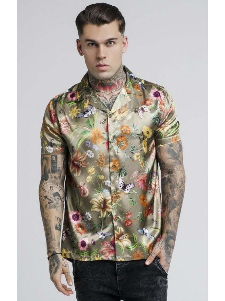 Camisa hawaiana estampada Floral jardín secreto SikSilk