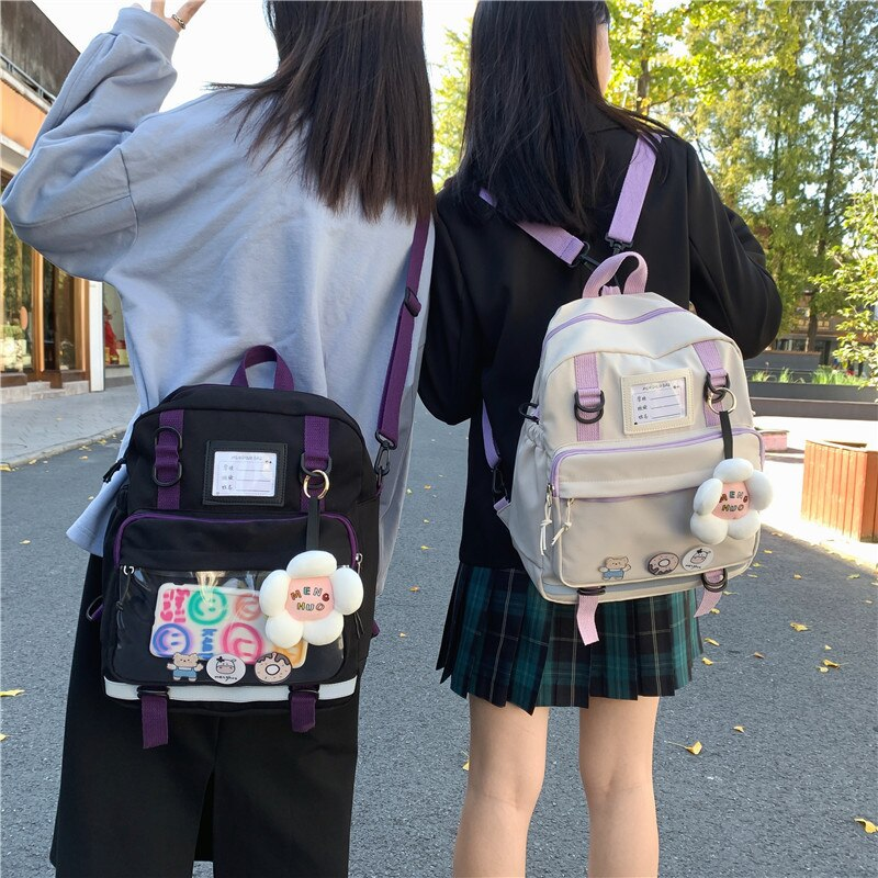 Korean Version Of Japanese Dual-use Schoolbag Female Backpack Simple College Students Sweet And Larg