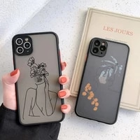 funny art sketch protection anti fall phone case for iphone 12 pro max x xs xr 11 pro max 7 8 plus simple matte hard pc cover