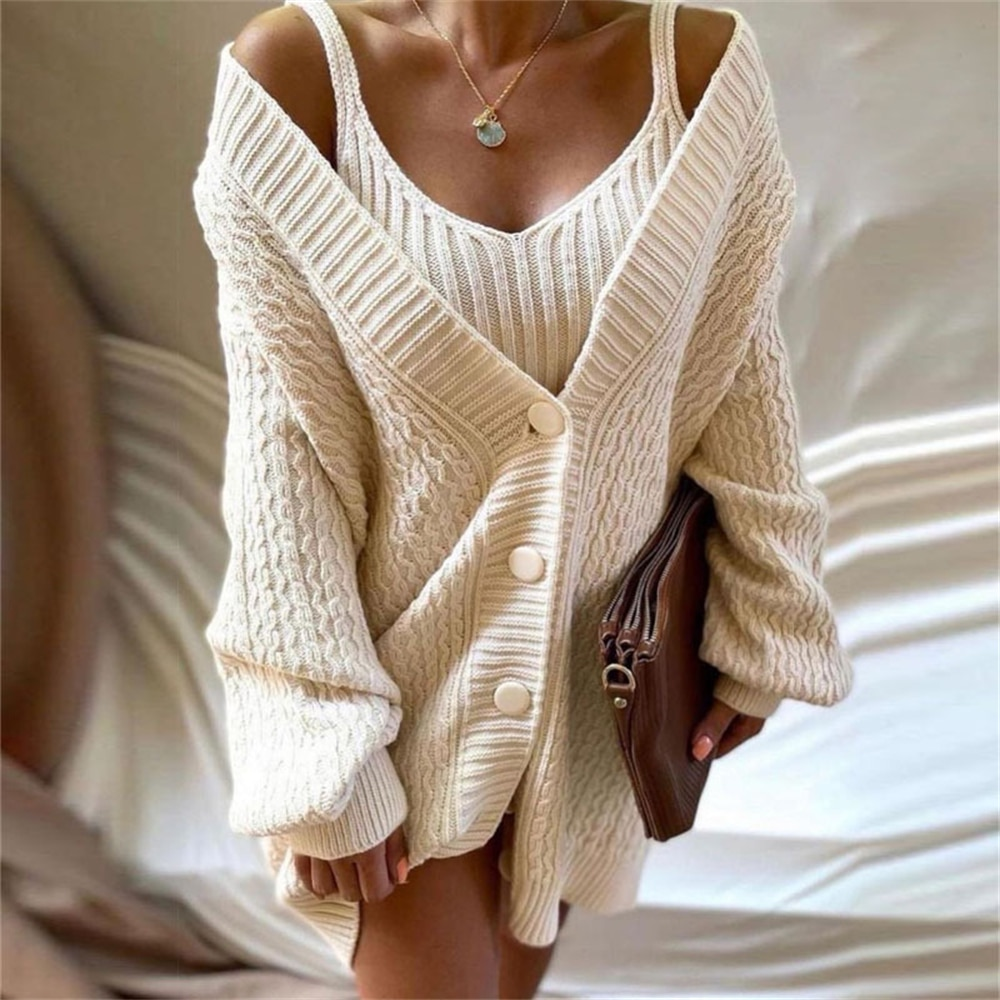 Women's Knitting 2-Pieces Sweater Suit Long Sleeved Newflower V-Collar+Sling Sweater Knitted Dress Sets