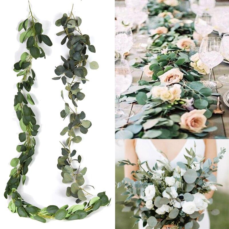 Decoración de boda, guirnalda de plantas artificiales tropicales de eucalipto verde, guirnalda de palmeras, guirnalda de flores, decoración colgante de pared para jardín Vertical