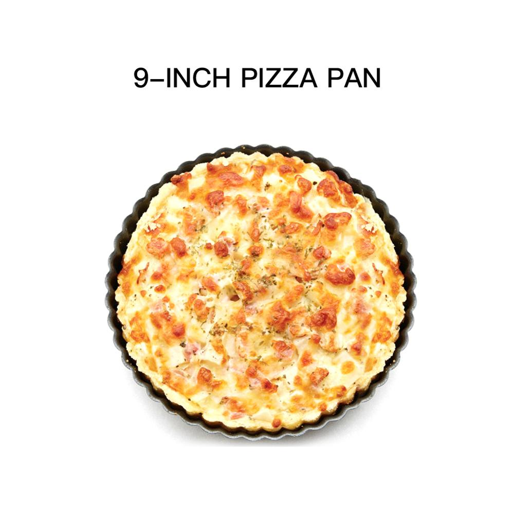 Molde de bandeja de pastel de Pizza de 9 pulgadas disco ondulado de acero al carbono antiadherente redondo molde de pastel microondas horno para hornear Pizza pan 22,4*20*3 cm