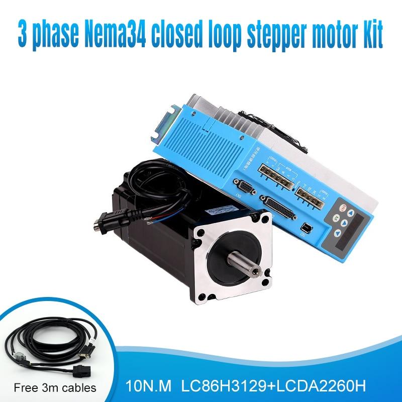 3 Fase Nema34 220V 150V ~ 230VAC 10N.M 86mm 1000rpm Servo paso de bucle cerrado motor paso a paso drive kit para Mach3 máquinas cnc
