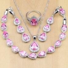 Argent 925 bijoux de mariée rose zircon cubique ensembles de bijoux femmes mariage longues boucles doreilles/pendentif/collier/anneau/Bracelet