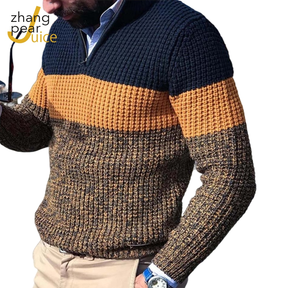 Men V-Neck Pullover Sweater Men's Knitted Pullovers Men's Clothing Sweaters Men Patchwork Color Block Sweater  Homme