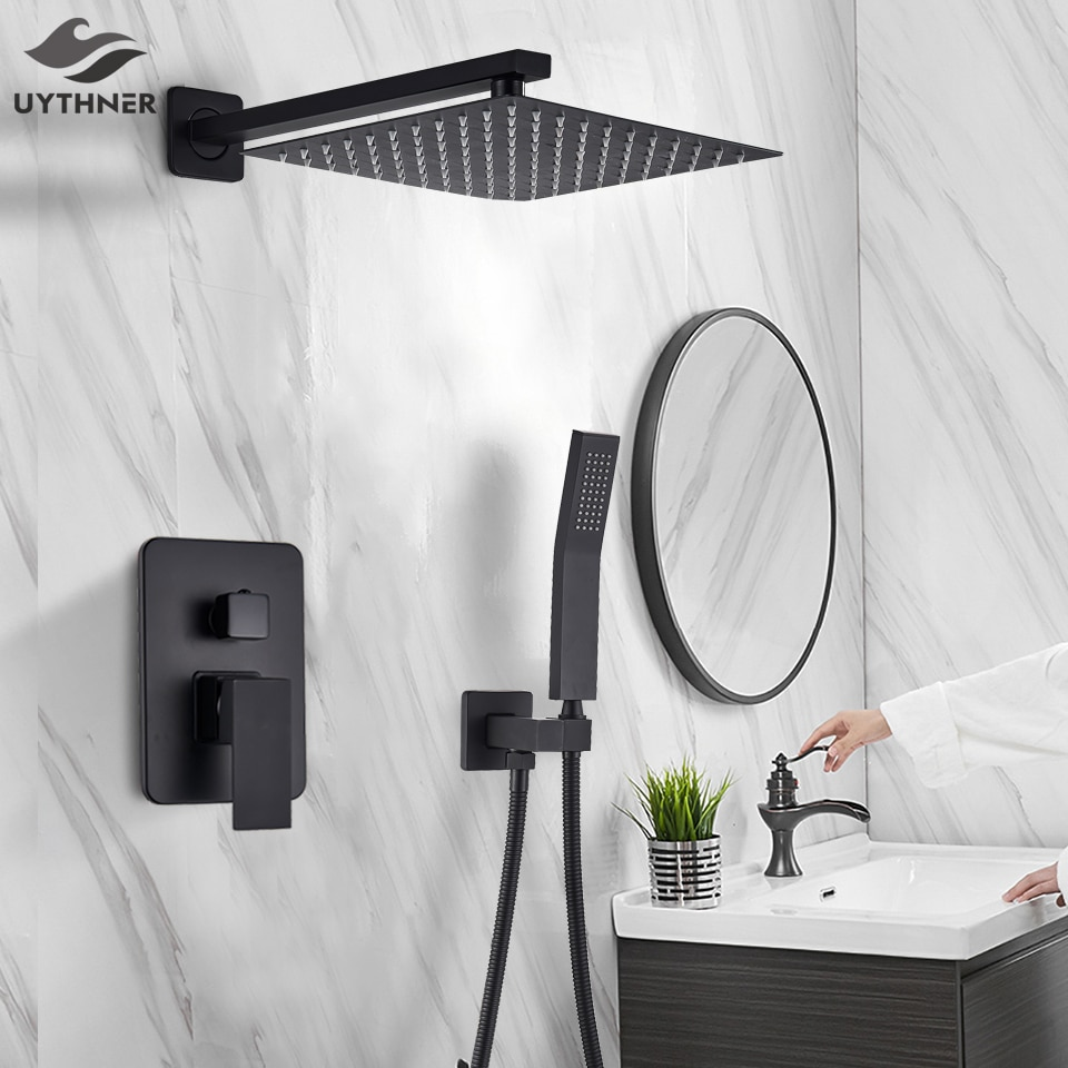 Uythner Matte Schwarz Dusche Armaturen Set Regen Dusche Wasserhahn Wand Montiert Dusche Set Badewanne Dusche Mixer Bad Dusche Set