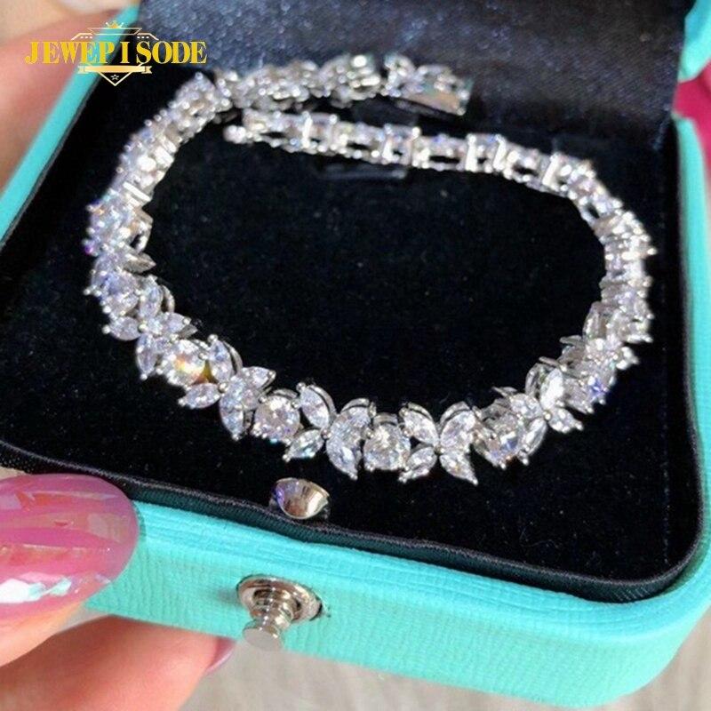 Get Jewepisode 925 Sterling Silver Leaf Shape Created Moissanite Diamond Charm Bracelets for Women Wedding Fine Jewelry Wholesale