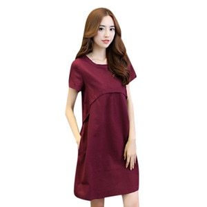Sagace Dress Women Cotton Linen O-neck Solid Thin Short-sleeved Loose Waist Plus Size Dresses Короткий Рукав Платье