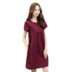 Sagace Dress Women Cotton Linen O-neck Solid Thin Short-sleeved Loose Waist Plus Size Dresses Короткий Рукав Платье
