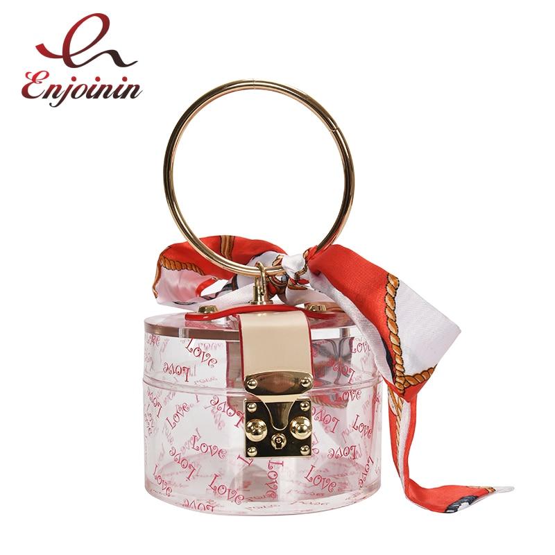 Transparent Acrylic Women's Purses and Handbag Shoulder Chain Bag Luxury Party Designer Bags Evening Bag Silk Ccarf Clutch Bag