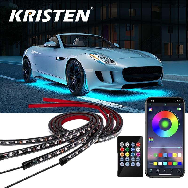 Car Underglow Light Flexible Strip LED Underbody Lights Remote /APP Control Car Led Neon Light RGB Decorative Atmosphere Lamp