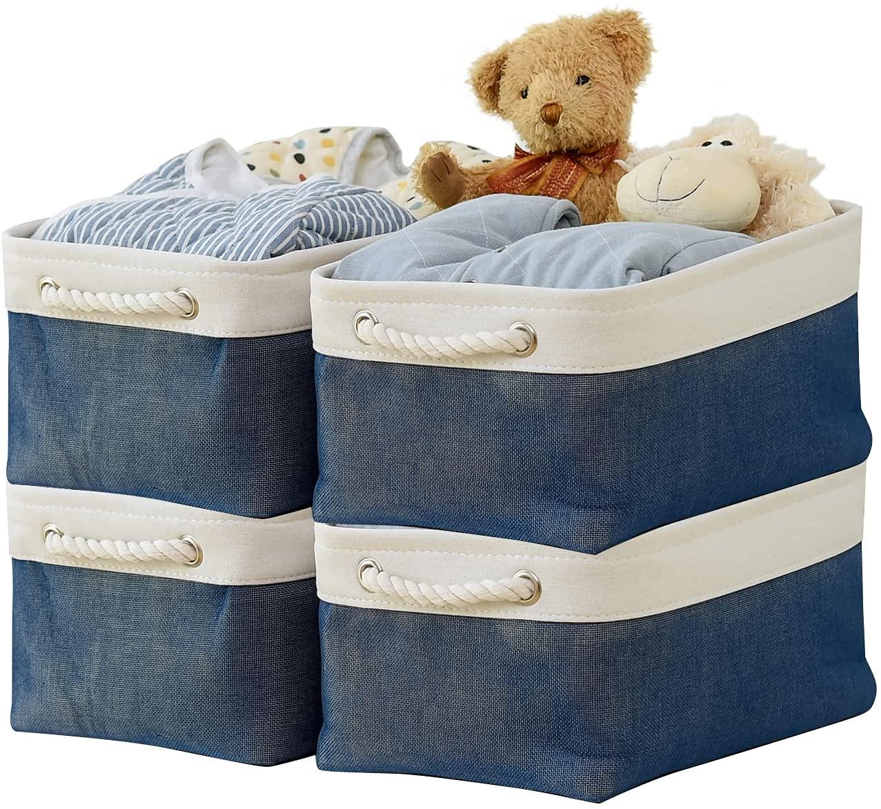 Samketel صندوق تخزين قابل للطي قابل للطي قوي سلة تخزين من القماش مكعب ث/مقابض لتنظيم رف الحضانة المنزل