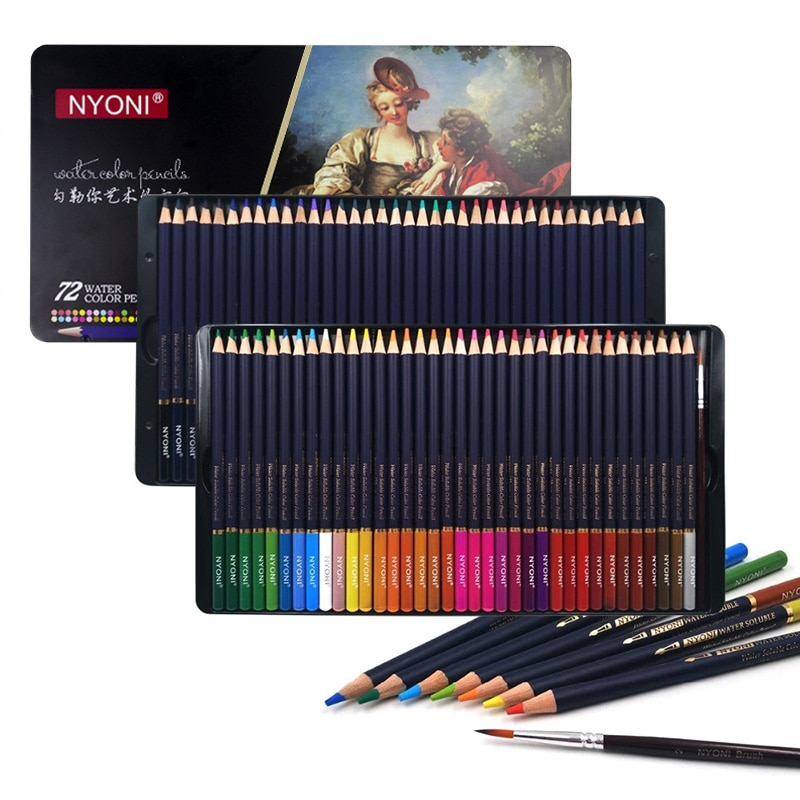 deli wooden colored pencils set soluble pencil for kids drawing pencils sketch artists painting supplies 12 18 24 36 colors box Professional Watercolor Pencil 12/24/36/48/72 Colors Soft Water Soluble Colored Pencils For Painting Student Artist Art Supplies