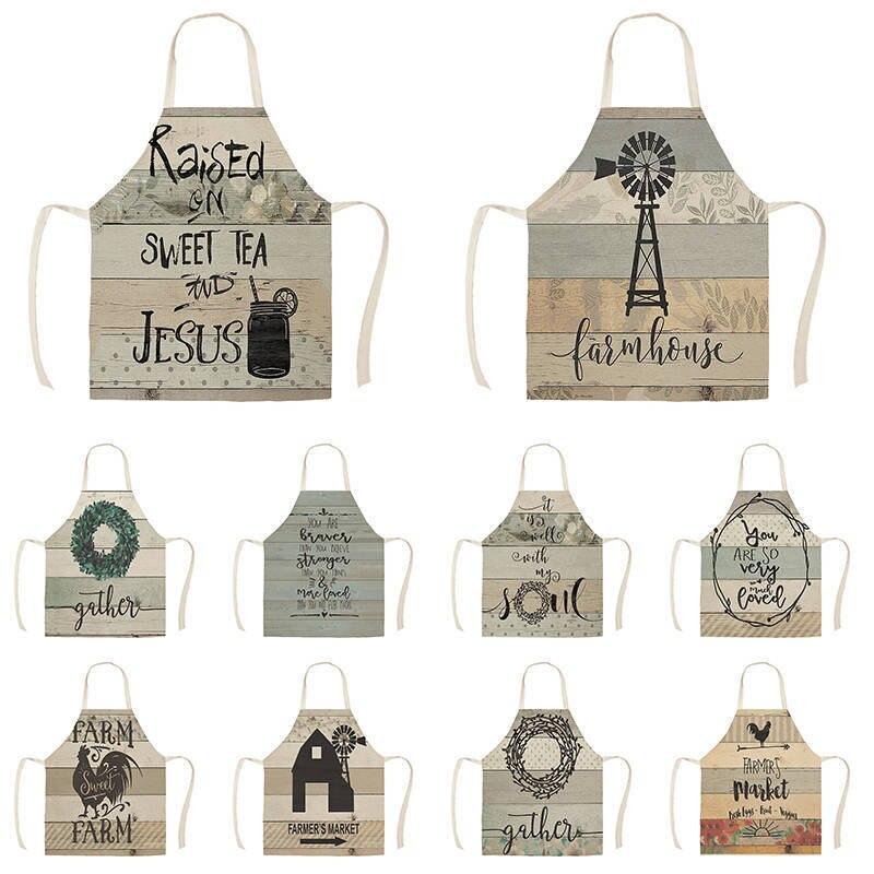 Delantal de cocina, herramientas de limpieza para el hogar, delantal de cocina con estampado de letras Vintage de estilo nórdico, delantales de cocina de gallo de vaca de granja fresca de granja WQ1483