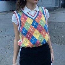 2020 femmes Argyle pull gilet Plaid angleterre Style géométrique col en v automne femmes tricoté gilet sans manches pull
