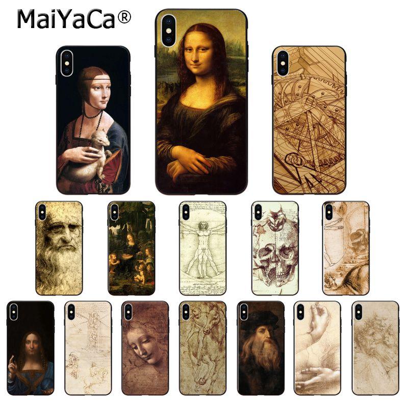 MaiYaCa Leonardo Da Vinci Mona Lisa manuscrito de silicona suave de TPU caja del teléfono negro para iPhone 5 5Sx 6 6 7 7plus 8 8Plus X XS X MAX XR