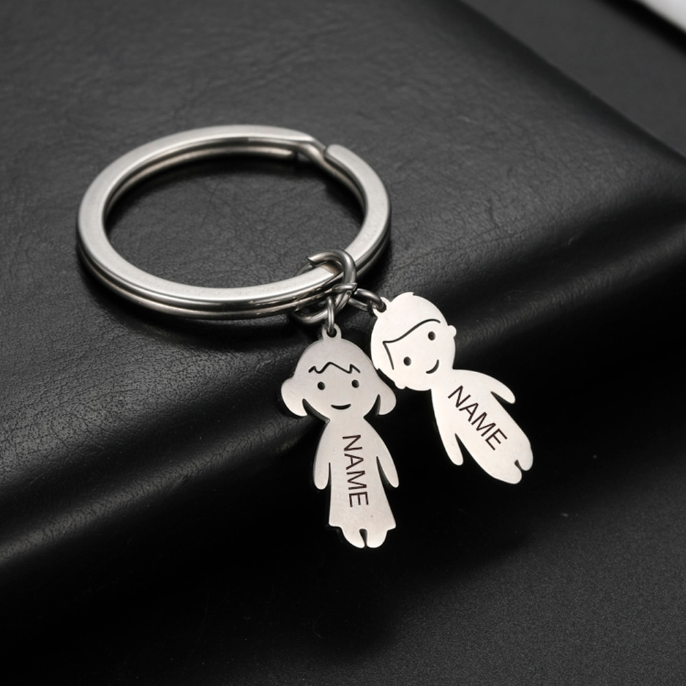 Personalized Engraved Name Date Child Family Keychain Custom Stainless Steel Key Ring Boy Girl Kid P