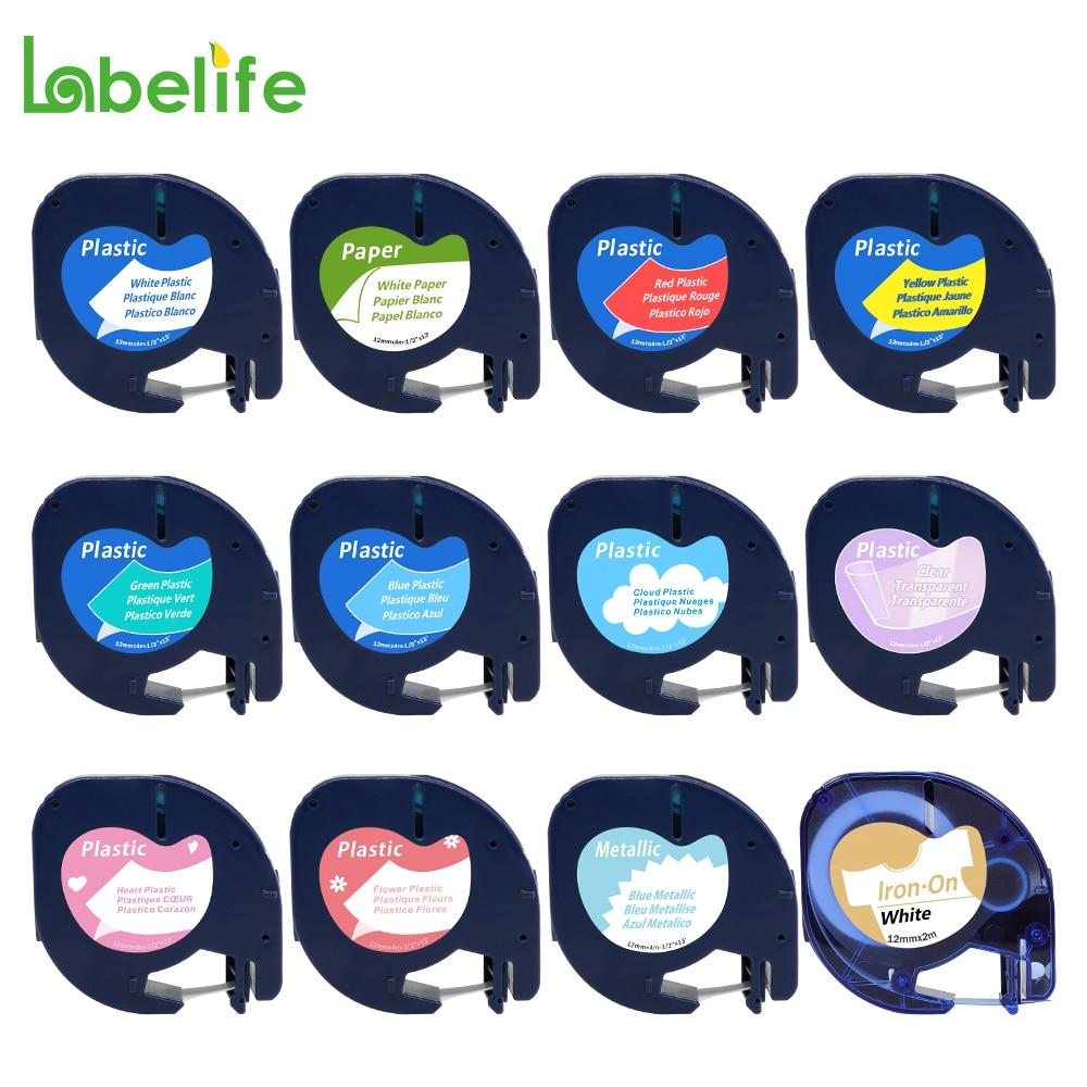 1 unidad, 91201, 91200, 12mm, negro sobre blanco, Compatible con cinta plástica Dymo Letratag LT 91331, LT91201, 12267, 18769, 18771, LT-100H, LT-100T