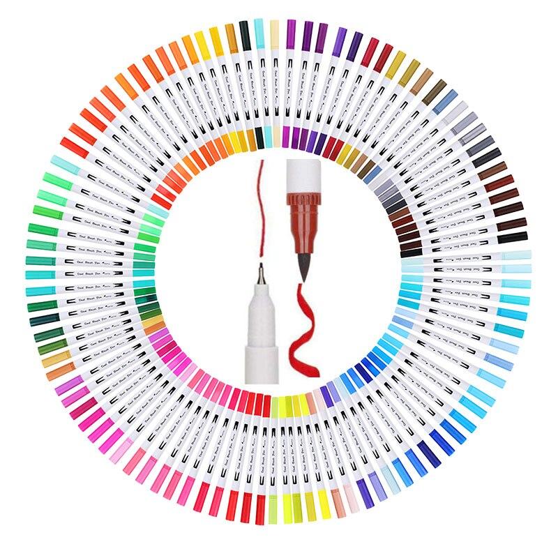 12/24/36/48/72/100 Uds colores FineLiner dibujo pintura acuarela rotuladores de arte pluma de Punta Dual escuela arte suministros 04350
