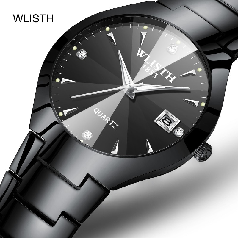 Brand-name high-end luxury couple watches, waterproof business pair watch steel band female watch quartz watch