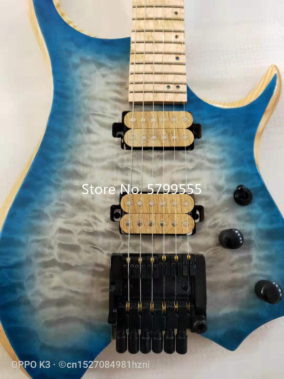 New 6 string headless electric guitar, crafted, multi-color optional, water wave maple veneer, maple fingerboard, free delivery. enlarge
