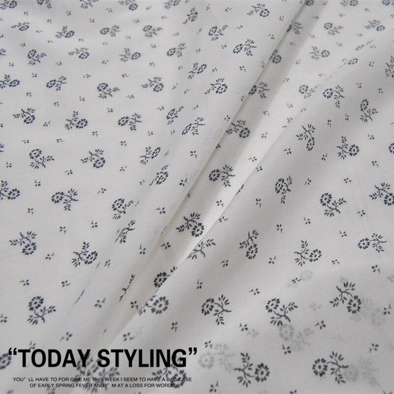 Leo & lin grande largo branco pequeno floral-impressão de seda algodão roupas de seda pano tecido diy costura retalhos