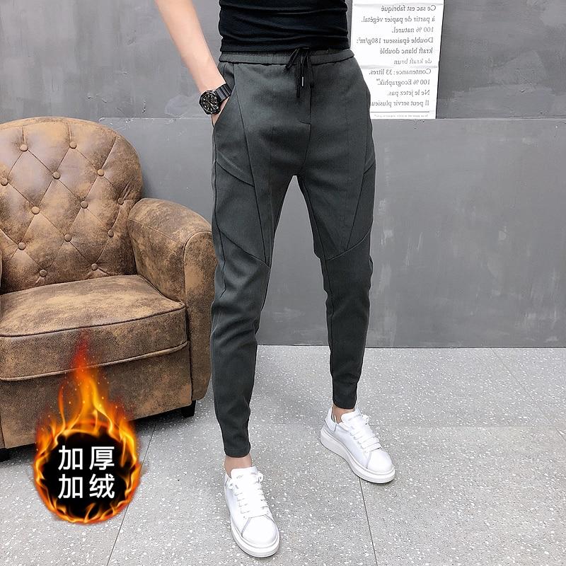 Модные корейские джоггеры, брюки-карандаш, мужские высококачественные зимние бархатные плотные брюки, мужские облегающие повседневные брю...