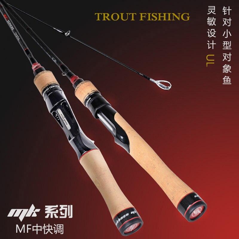 Seekbass marque UL truite canne à pêche 1.37m 1.58m 1-7g pointe solide coulée/filature Fiber de carbone