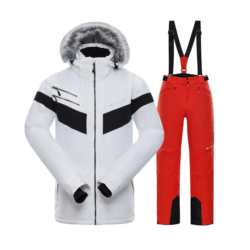 Мужской лыжный костюм, зимние брендовые высококачественные ветрозащитные водонепроницаемые теплые куртки и брюки, мужские костюмы для кат...