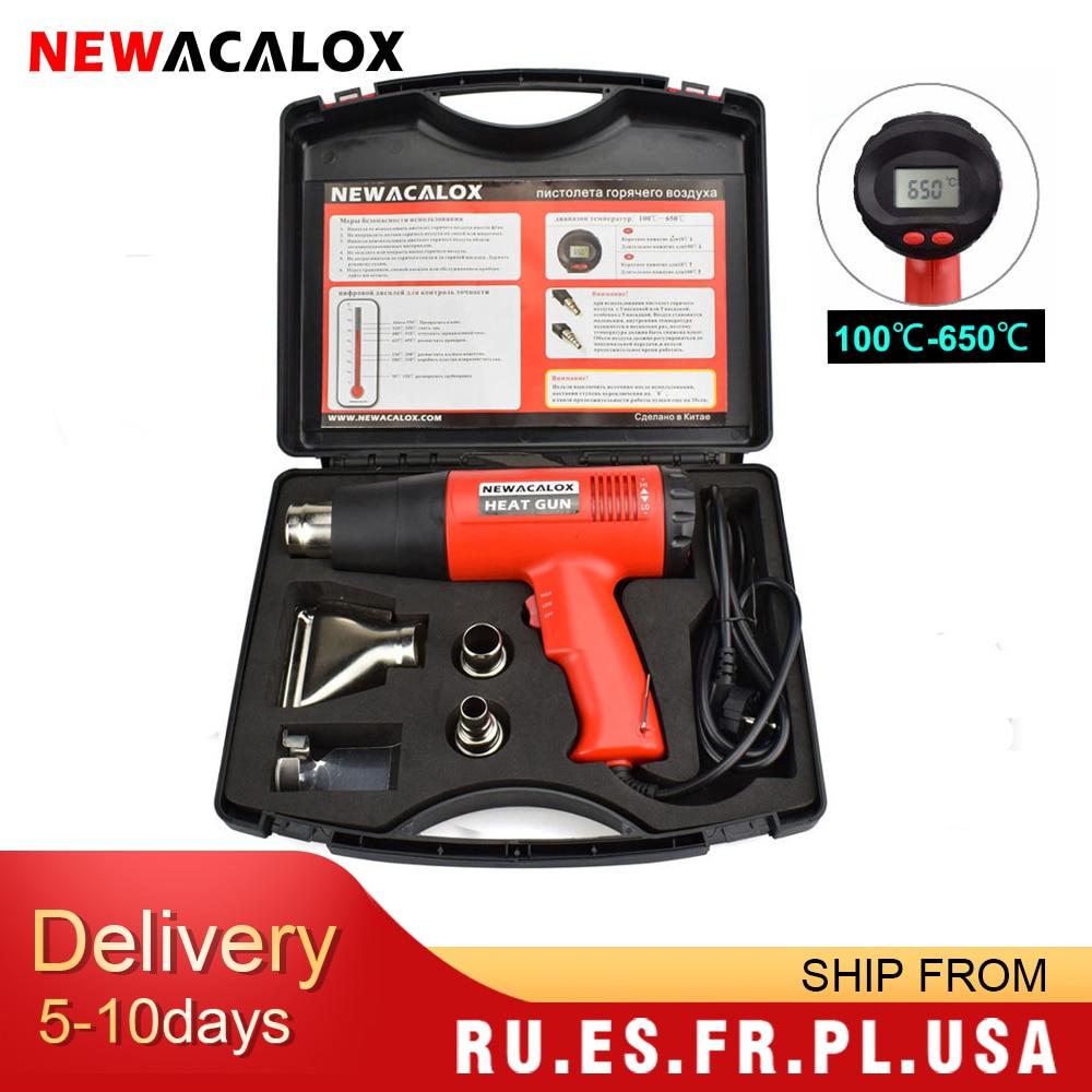 NEWACALOX-مسدس هواء ساخن صناعي ، منظم حراري مع شاشة LCD ، 2000 واط ، 220 فولت ، قابس الاتحاد الأوروبي ، مسدس حراري للتغليف