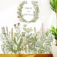 flower grass baseboard wall stickers skirting for balcony living room mural art home decoration pvc wall decal kitchen decor