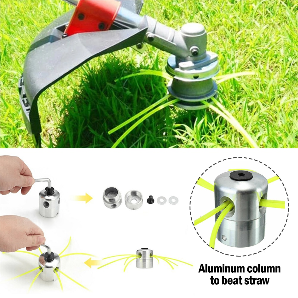 new brush cutting head steel wire grass trimmer head brushcutter gearbox gearhead lawnmover part replace adapter for garden tool Universal Brushcutter Head Aluminium Grass Trimmer Head with 4 Cutting Lines Brush Cutter Lawn Mowers Day Garden Accessories
