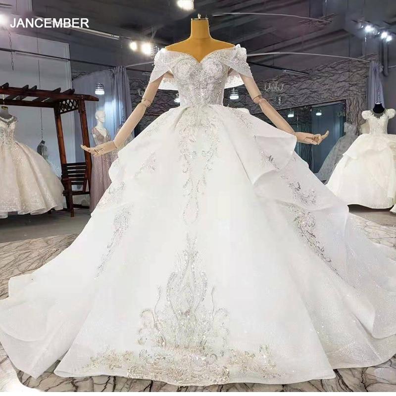 فستان زفاف HTL2160 ، مع ترتر معدني لامع ، مطبوع ، رقبة قلب ، بلوزة بحمالات ، فستان بدون ظهر ، موضة 2021
