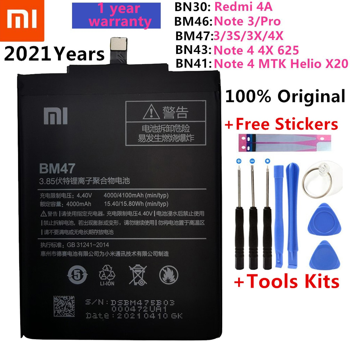 Batería de repuesto Original para Xiaomi Redmi Hongmi 4A 5A 3S 3X...