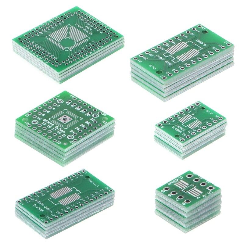 30 Uds placa PCB Kit SMD a adaptador DIP convertidor FQFP32-100 QFN48 SOP8 16 24 28