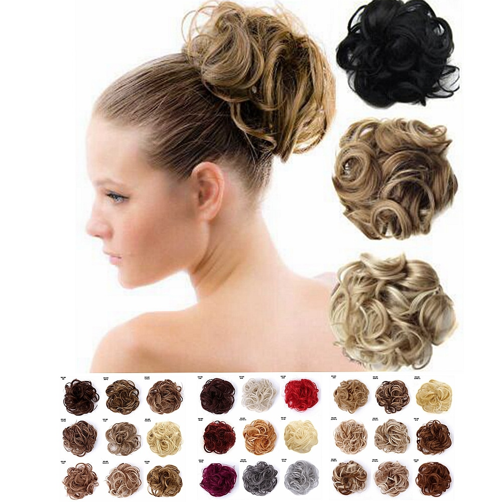 1 pcs confuso ondulado cabelo encaracolado bun scrunchies extensões de cabelo corda elástica updo cabelo chignon falso rabo de cavalo peças de cabelo