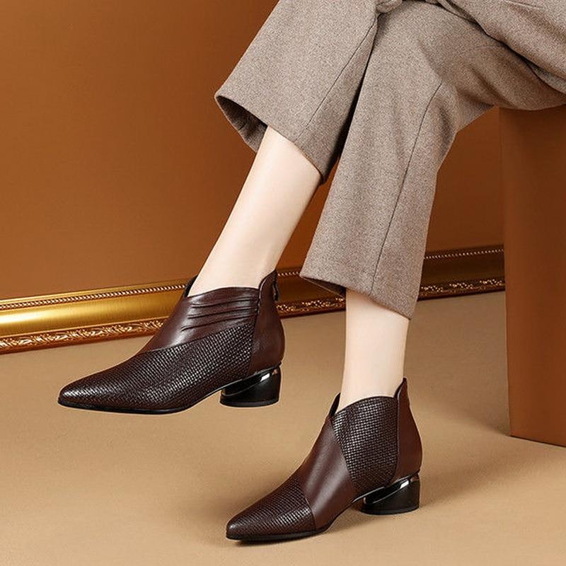 أحذية تشيلسي على الطراز البريطاني لعام 2020 ، أحذية نسائية لخريف/شتاء ، أحذية عارية ، مقدمة مدببة ، بسحاب خلفي ، قدم نسائي ، أسود ، بني