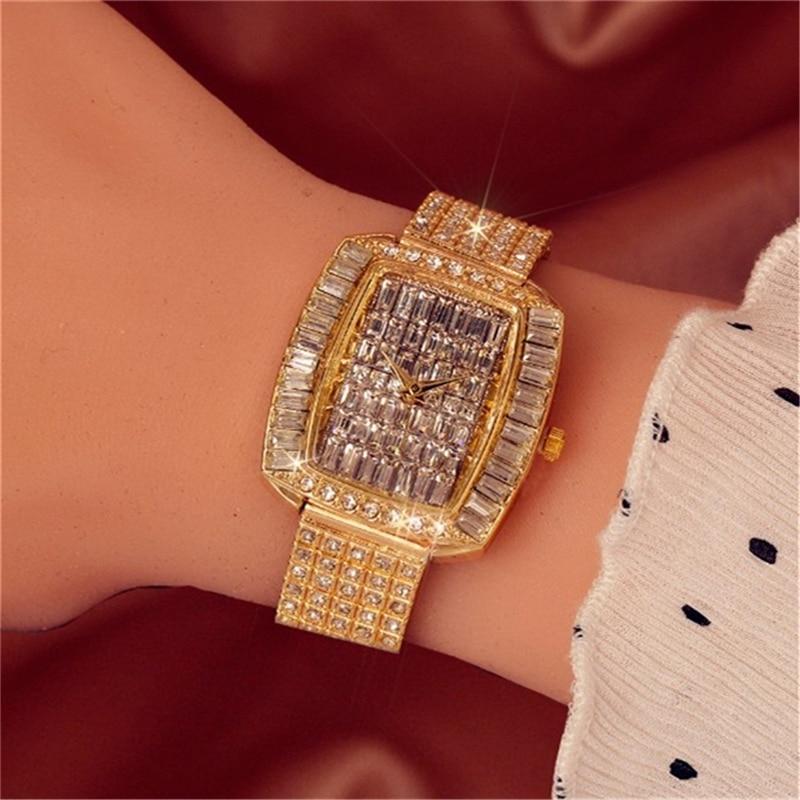 Watches Woman Rhinestone Quartz Ladies Watch Famous Diamond Luxury Brand Bracelet Top Wristwatch Crystal Quartz Clocks 2020 enlarge