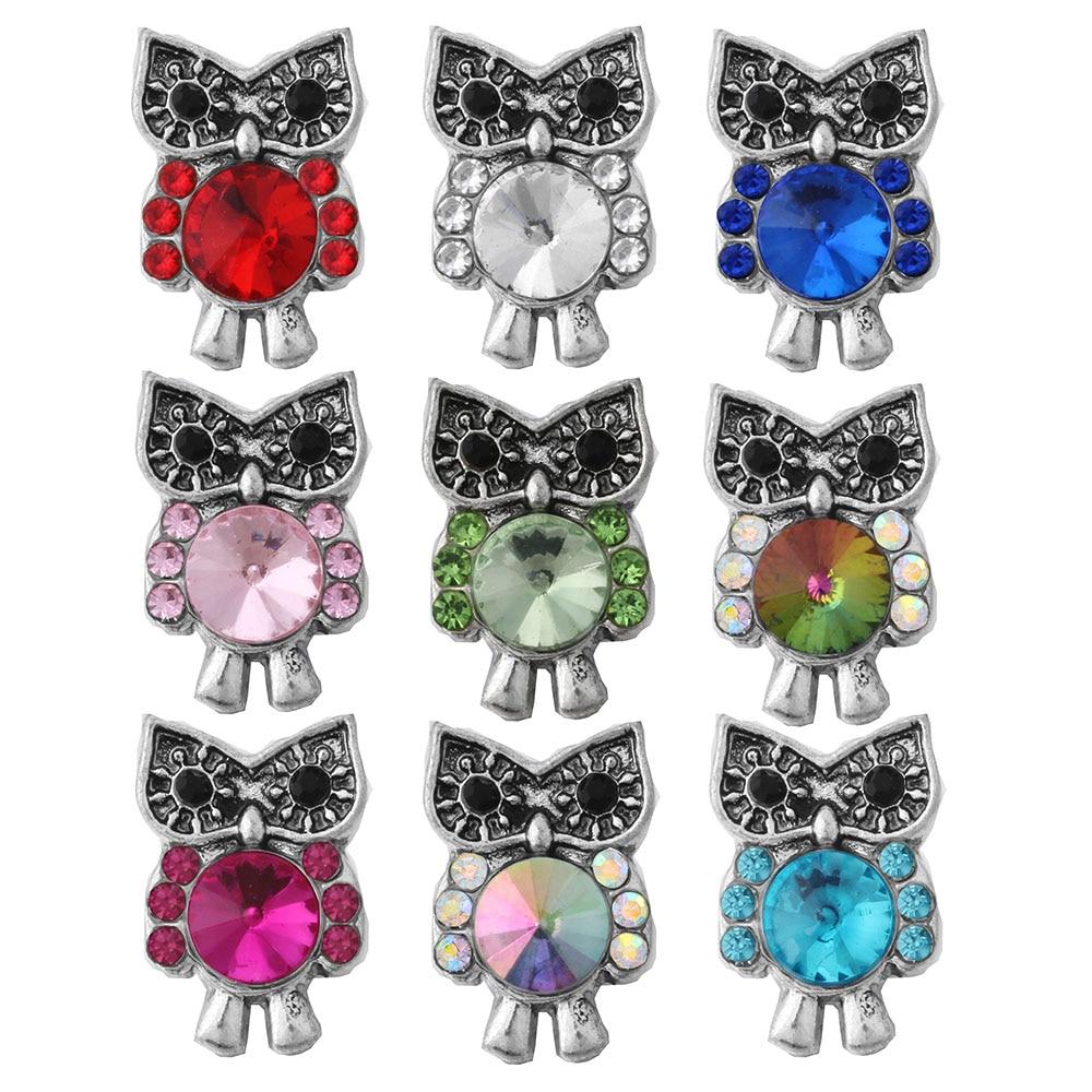 10 pçs/lote mini coruja bonito botão snap jóias diy acessório caber 12mm botão snaps pulseira colar zl122