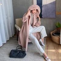 real fur coat winter jacket women natural fox fur collar hooded wool loose long overcoat belt streetwea oversize
