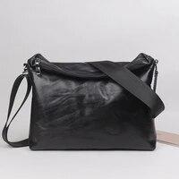 fashion mens shoulder bag genuine leather casual crossbody bag classic fold cover zipper messenger for 10 5 inch