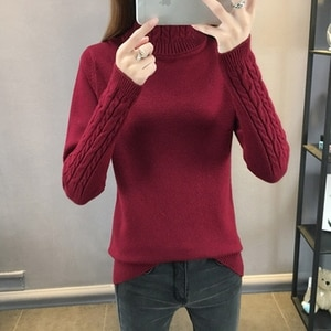 Women Sweaters 2021 Autumn Winter Tops turtleneck Thick Slim Women Pullover Knitted Sweater Jumper Soft Warm Pull Femme