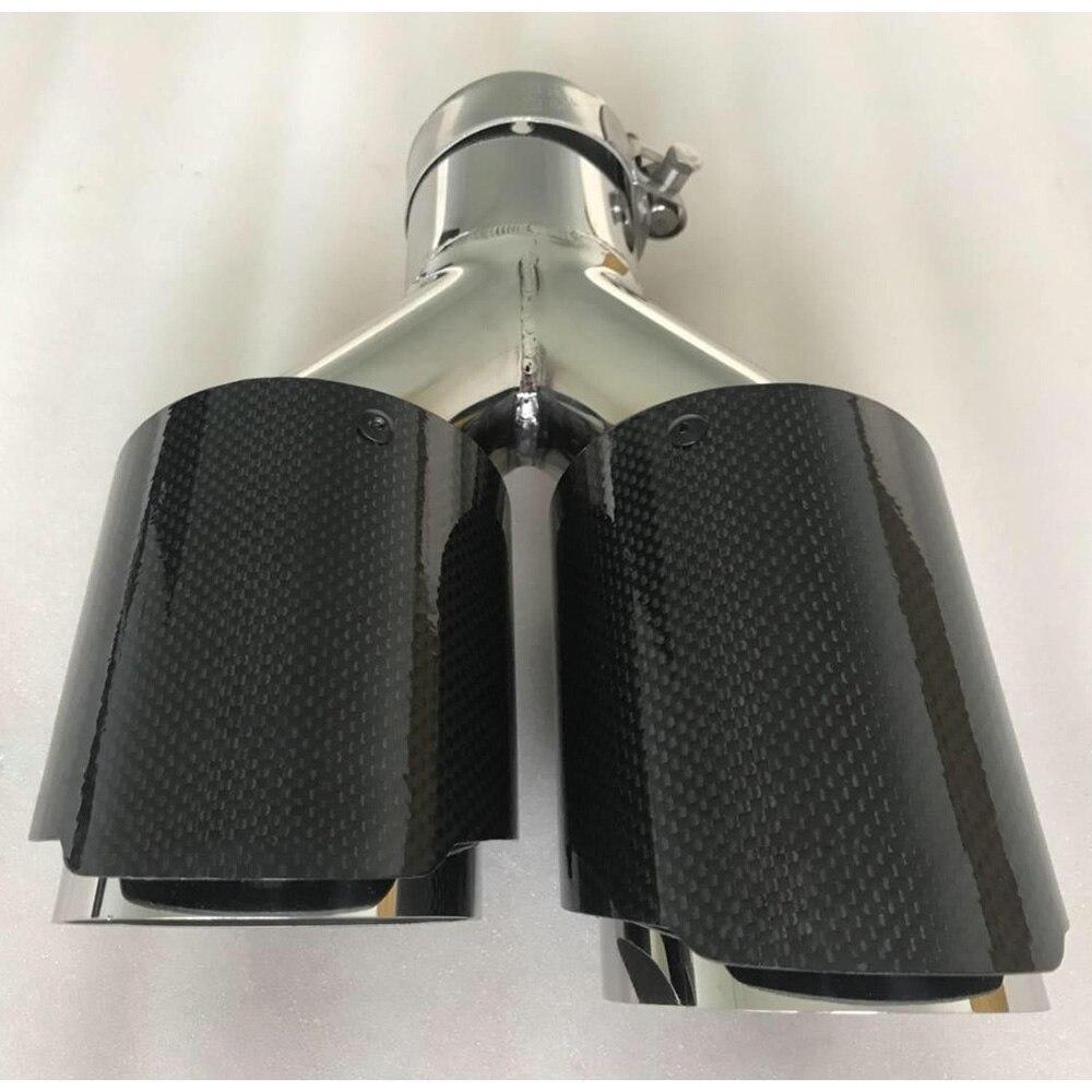 1 pieza de silenciador de punta de escape universal de acero inoxidable de fibra de carbono doble modelo de coche lateral izquierdo con logotipo para BMW E93