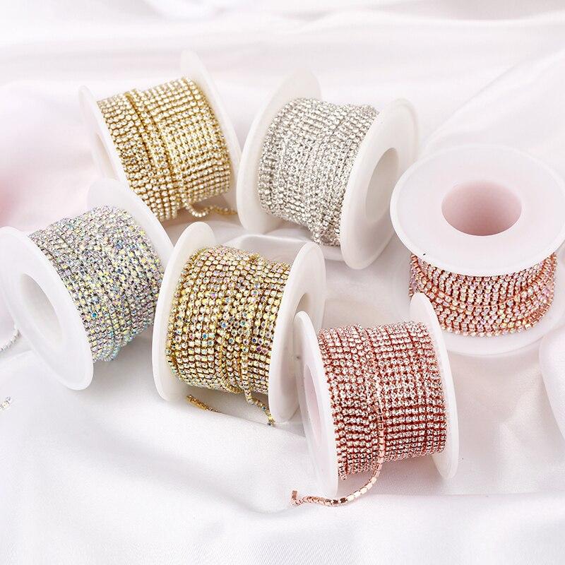 AAA Grade SS4.5-SS18(1.5mm-4.5mm) cristal clair AB Dense Strass tasse chaîne argent/or Rose griffe Strass chaîne garniture